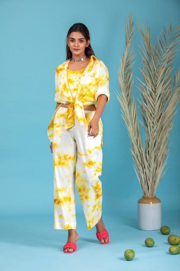 Tuscany yellow meerahini tie & Dye co-ord set
